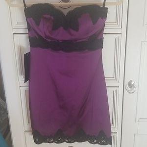 Bebe strapless lace trim sateen dress